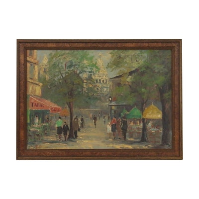 Impressionist European Street Scene Oil Painting, Mid to Late 20th Century