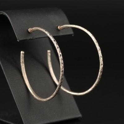 Konstantino Sterling Silver Patterned Hoop Earrings with 18K Posts