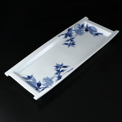 Japanese Blue and White Porcelain Tray with Floral Motif