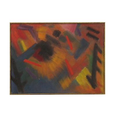 """Abstract Oil Painting Attributed to Elise Donaldson """"Black Davey"""""""