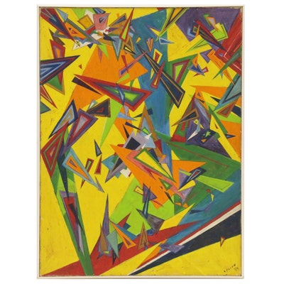 "Mary Polon Abstract Oil Painting ""Triangles"", 1964"
