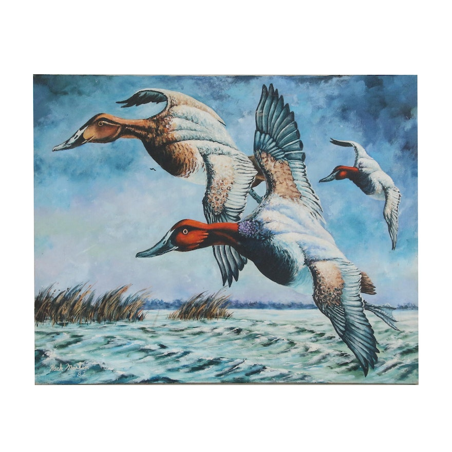 Hack Martin Seascape Oil Painting with Ducks, 1982