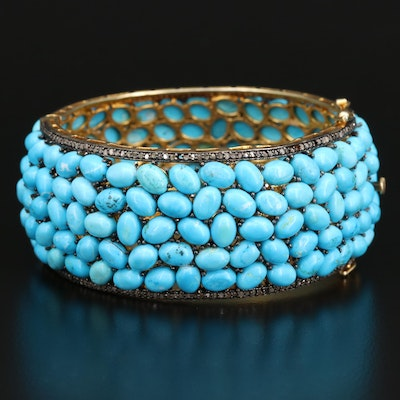 Sterling Silver Magnesite and Diamond Hinged Bangle