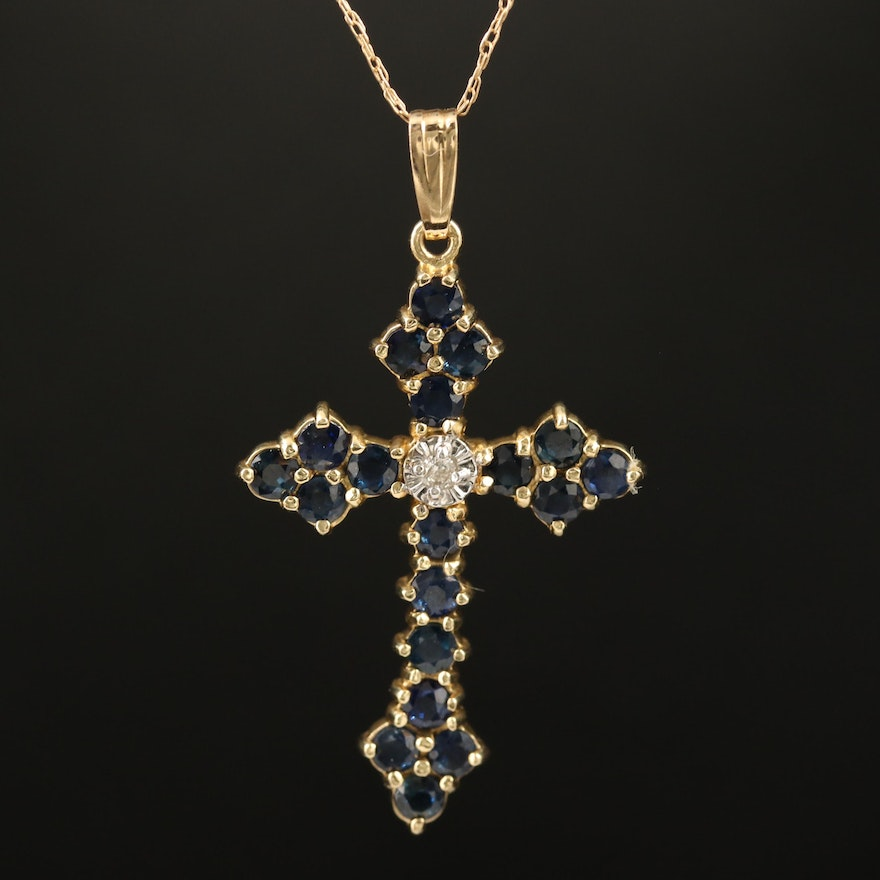 14K Sapphire and Diamond Cross Pendant Necklace