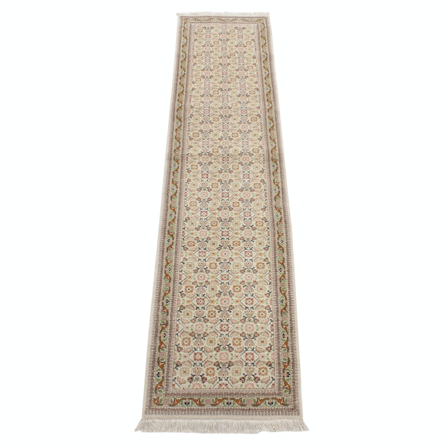 2'7 x 11'1 Hand-Knotted Persian Tabriz Taba Taba Runner, 1970s