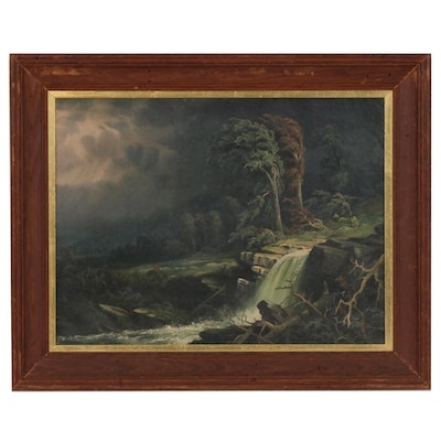 Waterfall Landscape with Stormy Sky Oil Painting, 1895