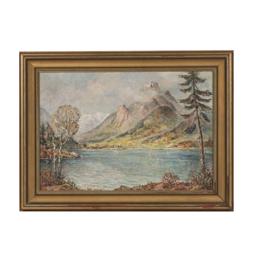 Impressionist Style Oil Painting of Mountain Lake Landscape, 20th Century