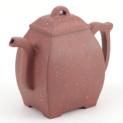 Chinese Yixing Speckled Ceramic Teapot, Mid-20th Century