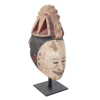 Igbo Style Hand-Carved Wood Spirit Mask on Mount, Nigeria