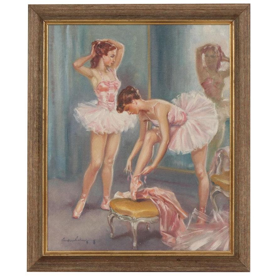Ballerinas in Dressing Room Oil Painting, Mid 20th Century
