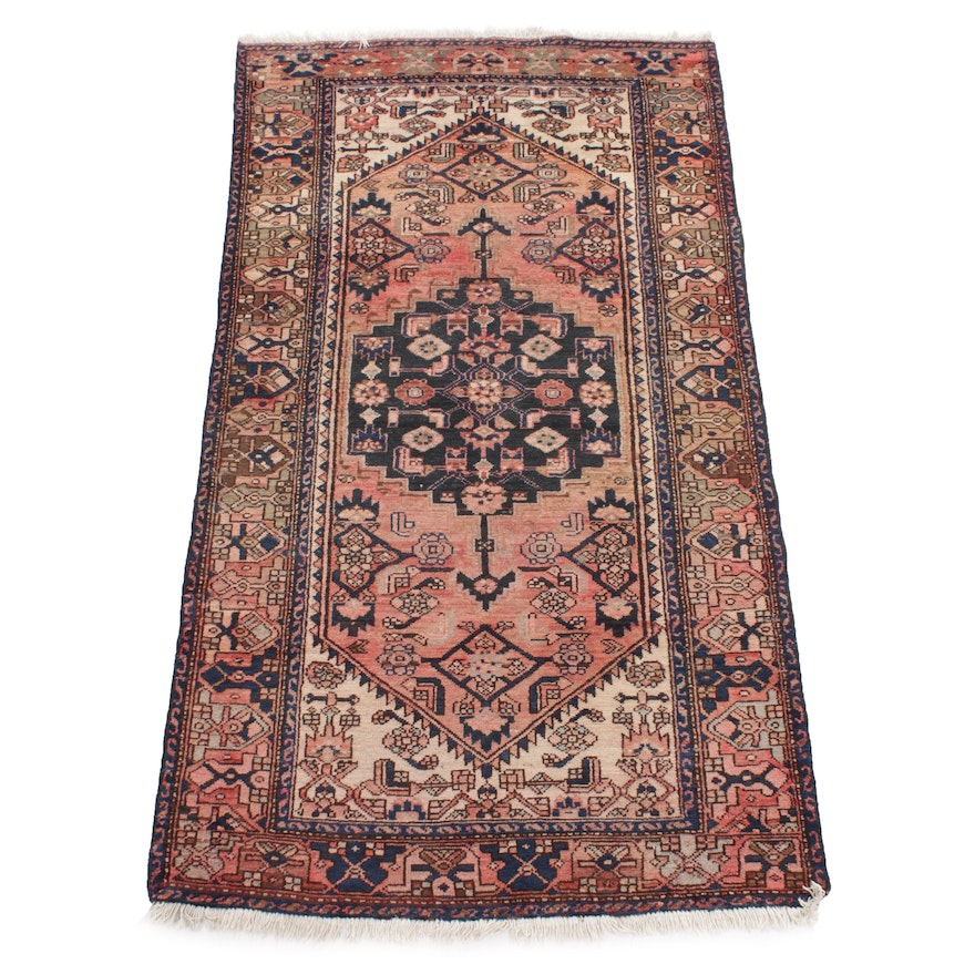 3'11 x 7'6 Hand-Knotted Persian Zanjan Rug, 1930s