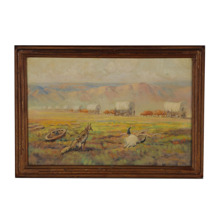 Southwestern Landscape Oil Painting, 1934