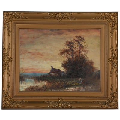 Rural Countryside Landscape Oil Painting, Early 20th Century