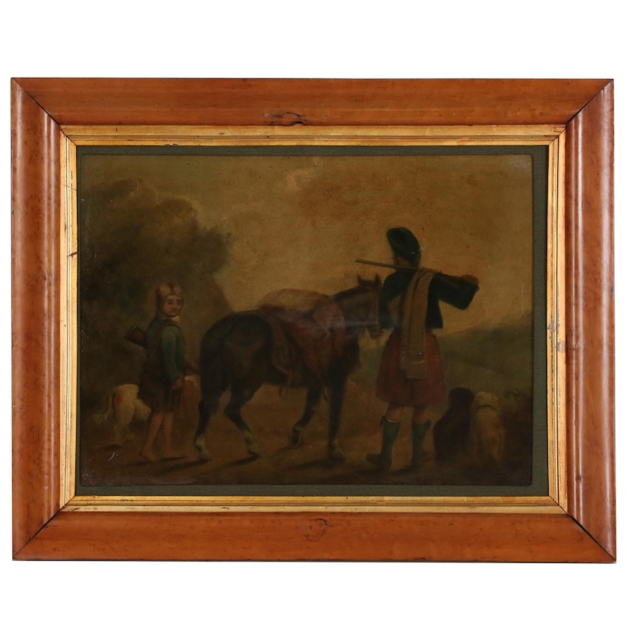 Oil Painting of Two Young Hunters, 20th to 21st Century