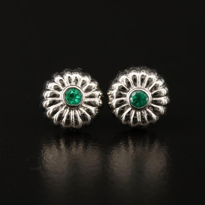14K Emerald Stud Earrings with Floral Motif