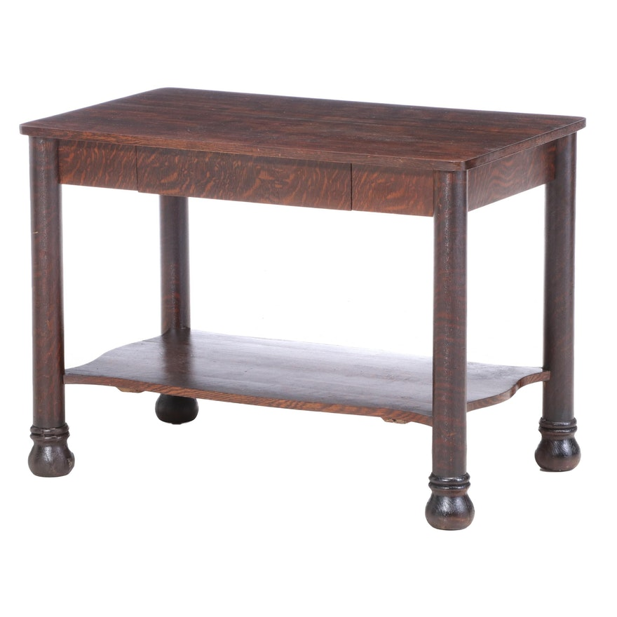 American Oak and Poplar Library Table, Early 20th Century