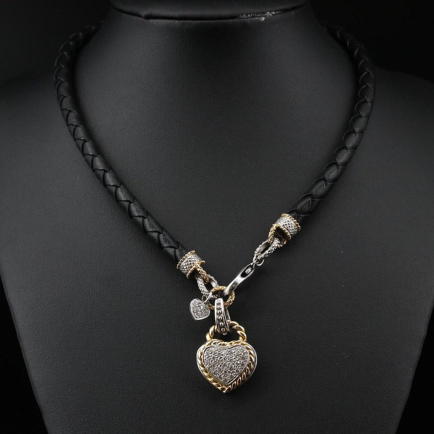 14K Two-Tone Diamond Heart Enhancer Pendant on Woven Cord Necklace