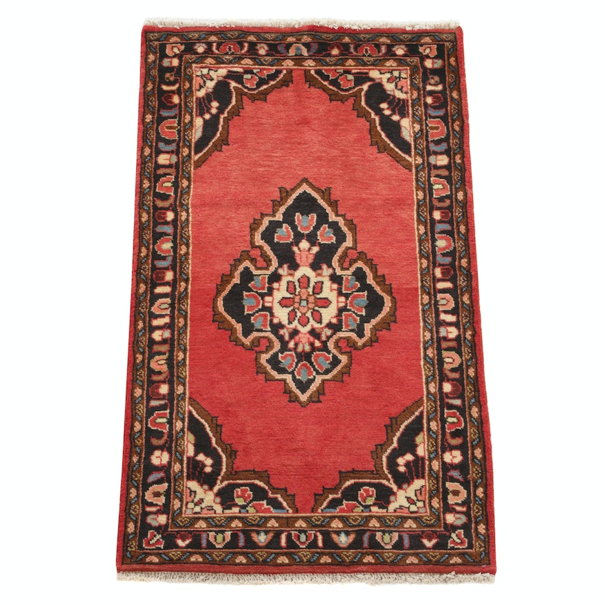2'4 x 4'2 Hand-Knotted Persian Malayer Rug, 1980s