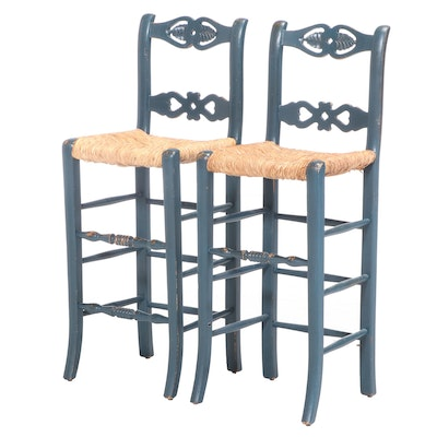 Pair of French Provincial Style Painted Bar Stools