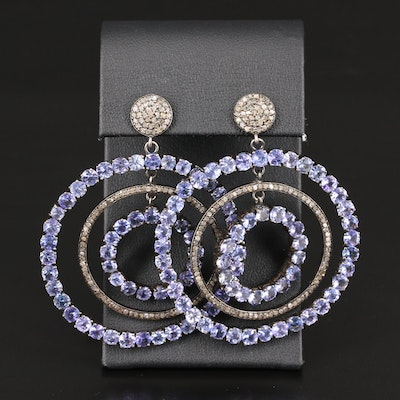 Sterling Silver Tanzanite and Diamond Circular Dangle Earrings