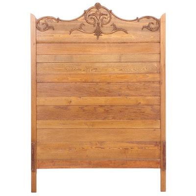 Victorian Oak Full Sized Headboard, Early 20th Century
