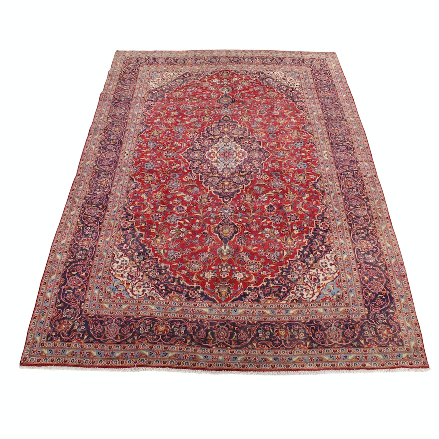 9'9 x 13'9 Hand-Knotted Persian Kashan Rug, 1970s