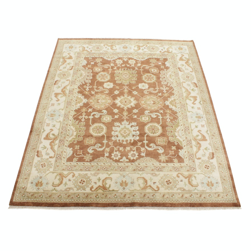 8'3 x 10' Hand-Knotted Turkish Oushak Rug, 2010s