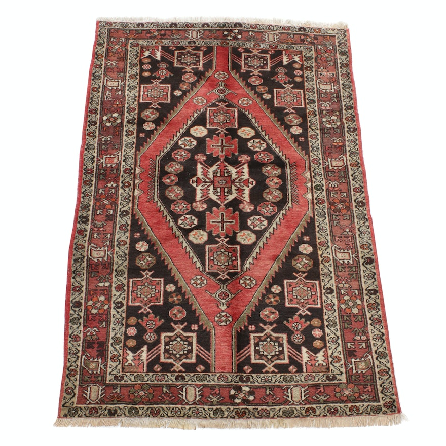 4'4 x 7' Hand-Knotted Persian Malayer Rug, 1960s