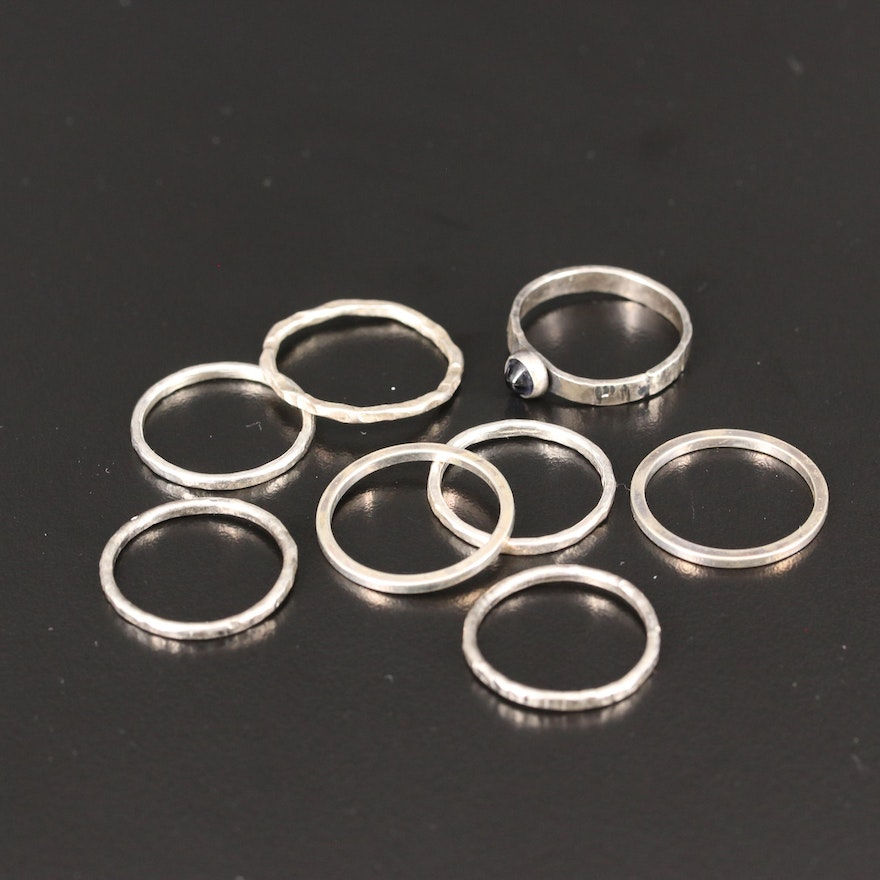 Sterling Silver Stackable Rings with Iolite Solitarie Ring