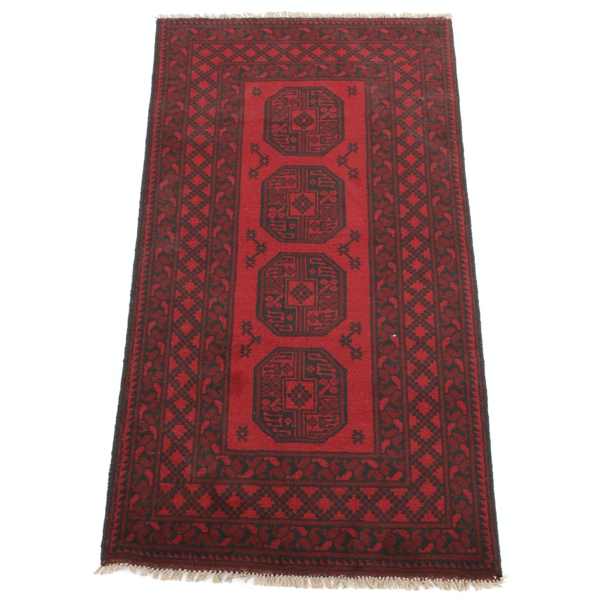 3'3 x 6'6 Hand-Knotted Afghani Turkoman Rug, 2000s
