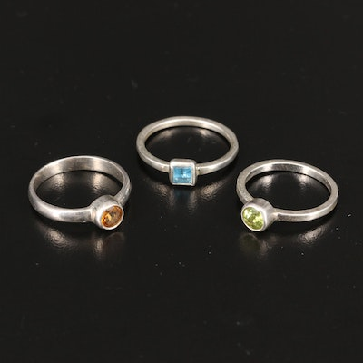 Sterling Silver Solitaire Rings with Citrine, Peridiot and Topaz