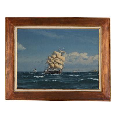 Christian Mollgaard Nautical Seascape Oil Painting, Mid 20th Century