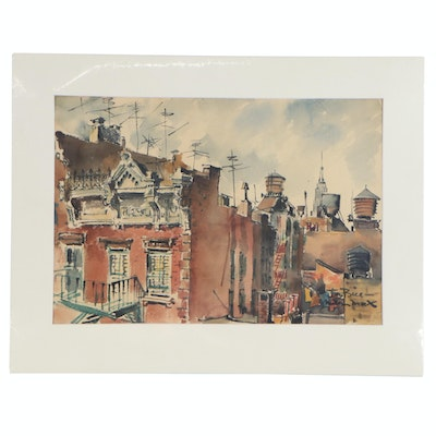 Milton Marx Cityscape Watercolor Painting, Early 20th Century