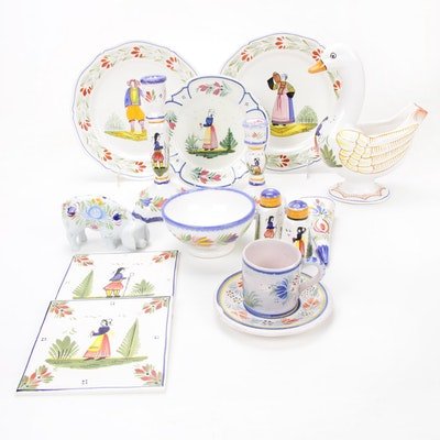 Henriot Quimper Painted Faience Tableware, Mid to Late 20th Century