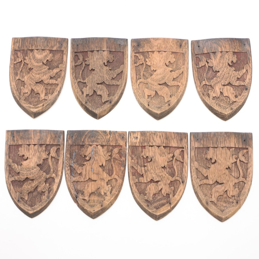 Carved Oak Armorial Decorative Accents, Late 19th to Early 20th Century