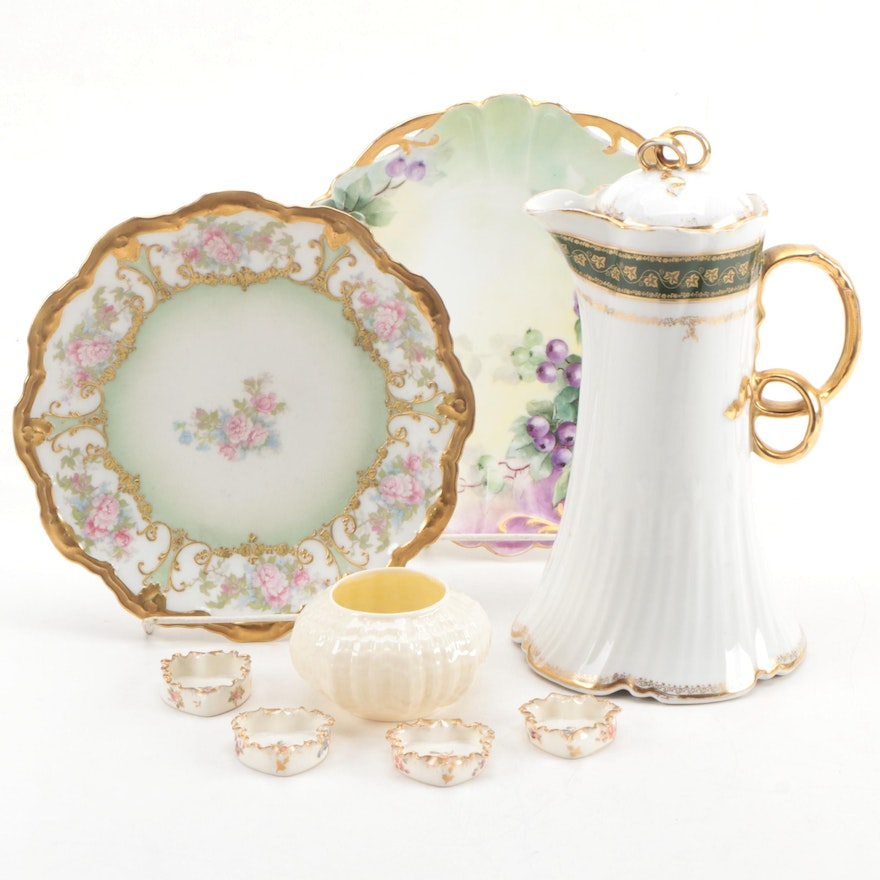 Charles Field Haviland Porcelain Chocolate Pot with Other Porcelain Tableware