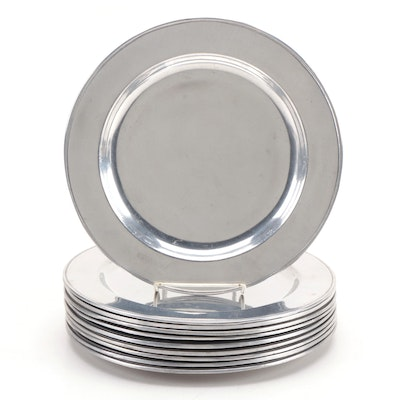 Set of Ten Wilton Pewter Dinner Plates, Late 20th Century