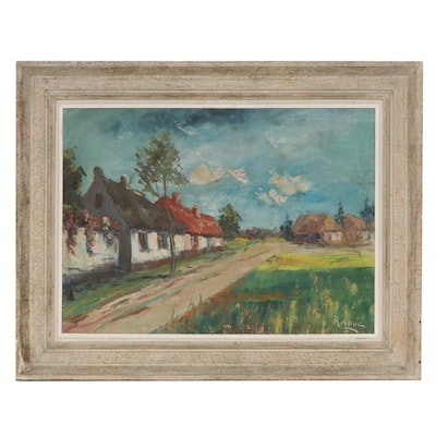Impressionist Style Oil Painting of Rural Village Road, Mid 20th Century