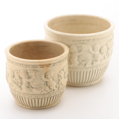 Pair of Ceramic Cherub Motif Planters, Mid-20th Century