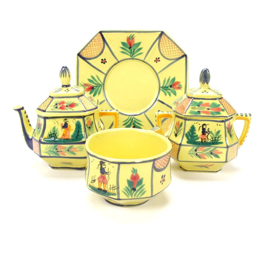 "Henriot Quimper Hand-Painted ""Soleil Yellow"" Faïence Tea Service, 1930s"