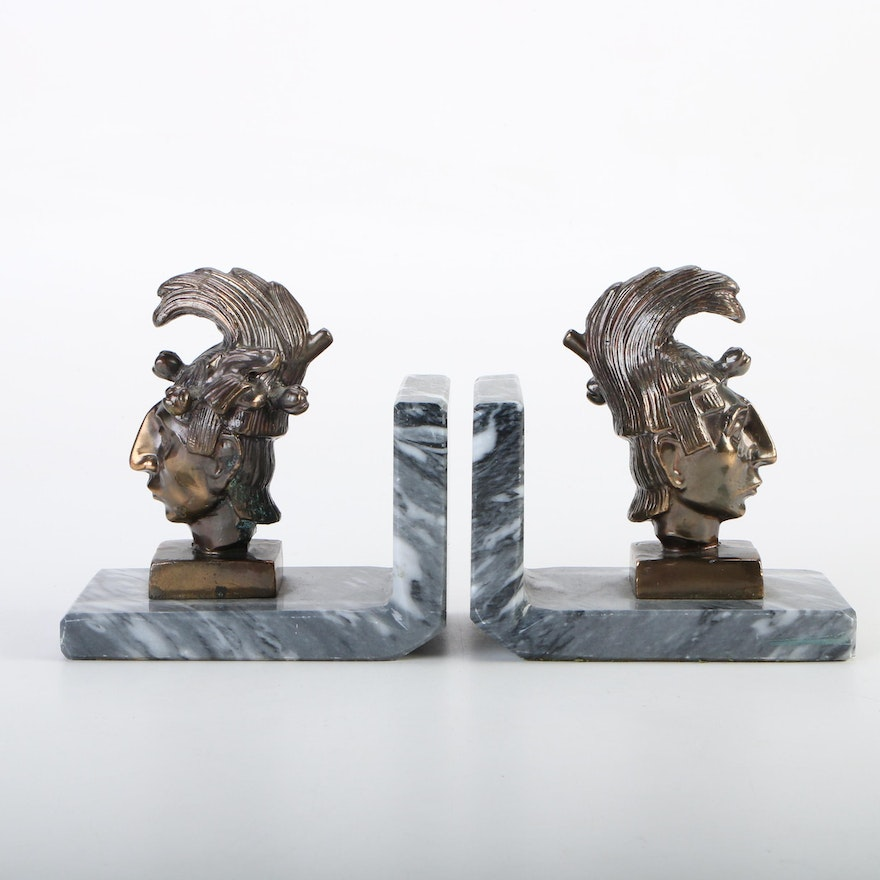 K'inich Janaab' Pakal Bronze Bust and Marble Bookends