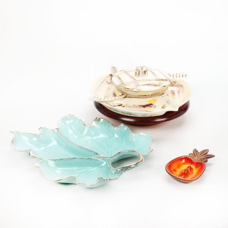 California Pottery Chip and Dip With Other Serveware, Mid-20th Century