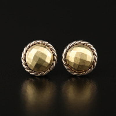"""David Yurman """"Chatelaine"""" Sterling Silver Stud Earrings with 18K Accents"""