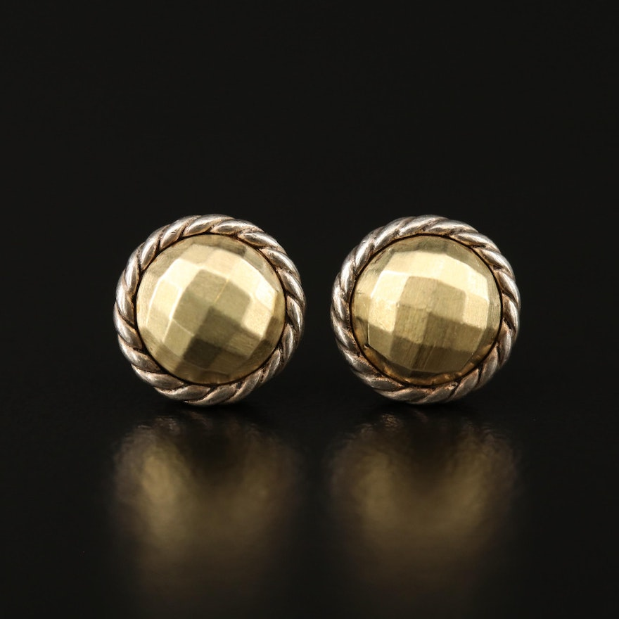 "David Yurman ""Chatelaine"" Sterling Silver Stud Earrings with 18K Accents"