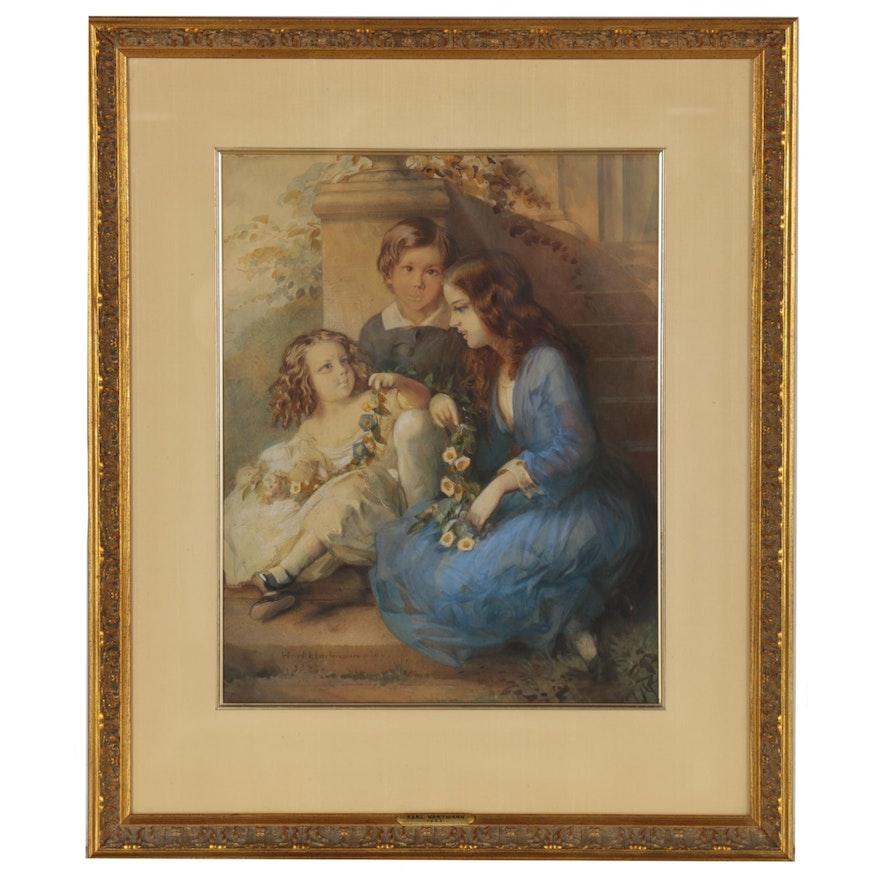 Romanticized Italian Inspired Watercolor Painting, 1852