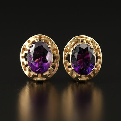 14K Amethyst Clip Earrings with Pierced Borders