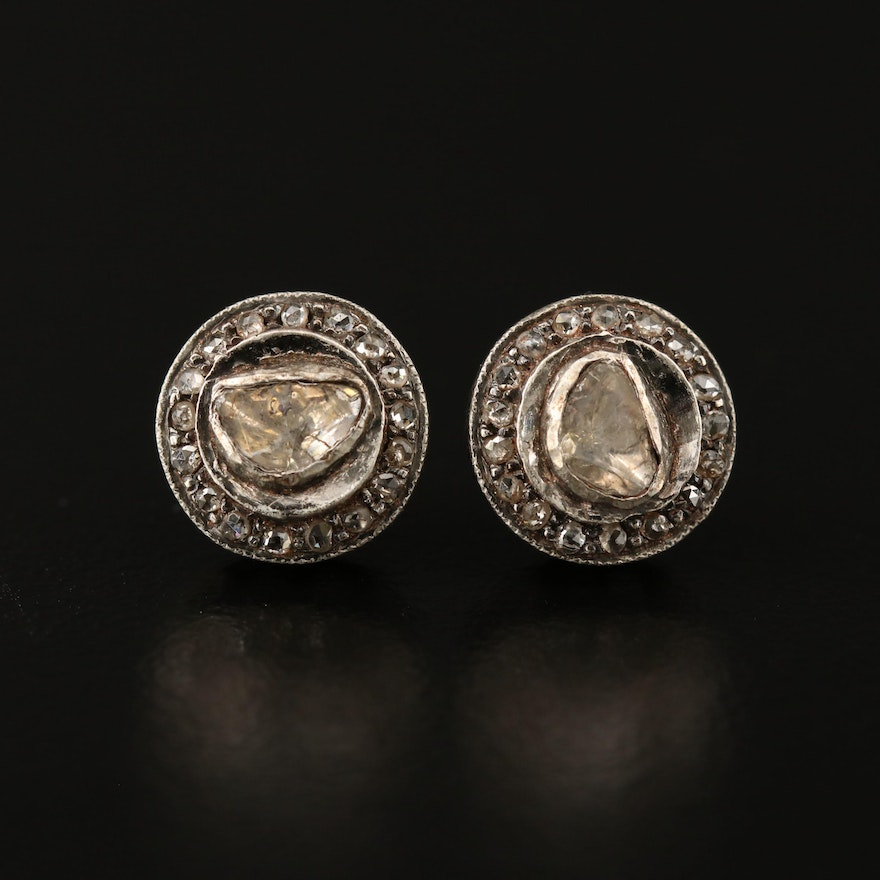 Sterling Silver 0.11 CTW Diamond Stud Earrings with 14K Accents