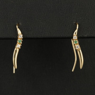 14K Emerald and Diamond Ear Climbers