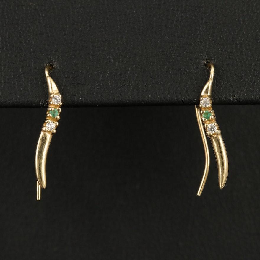 14K Emerald and Diamond Ear Climbers