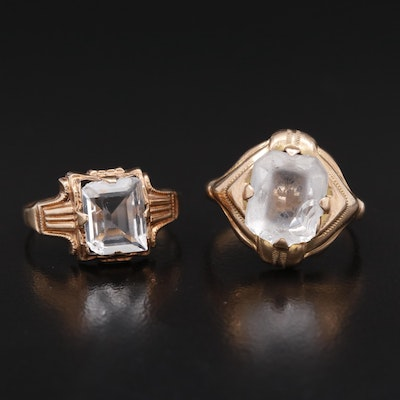 Art Deco 10K Glass Rings